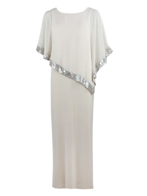 Front shot of Frank Lyman Sequin Evening Dress in Silver Beige, Style 198171