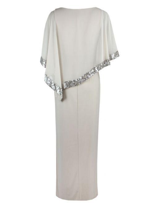 Back shot of Frank Lyman Sequin Evening Dress in Silver Beige, Style 198171