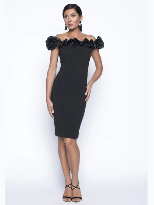 Full-length shot of Model wearing Frank Lyman Off Shoulder Dress with Ruffle in Black, Style 199105