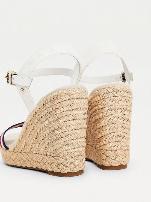 Tommy Hilfiger Ecru Shimmer Stripe Wedge Sandals Fw0fw05590/Ybl-White