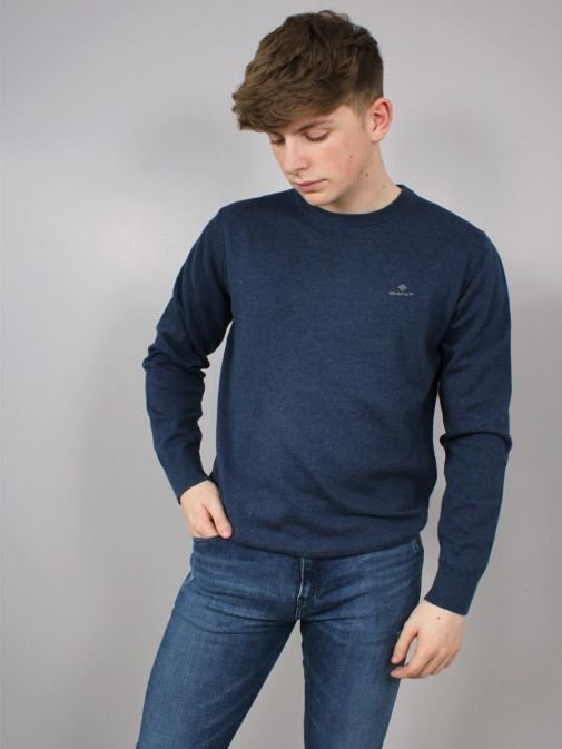 Front Shot of the Gant Classic Cotton Crew Neck Sweater in the Navy colour featuring long sleeves, Gant logo and rounded neckline