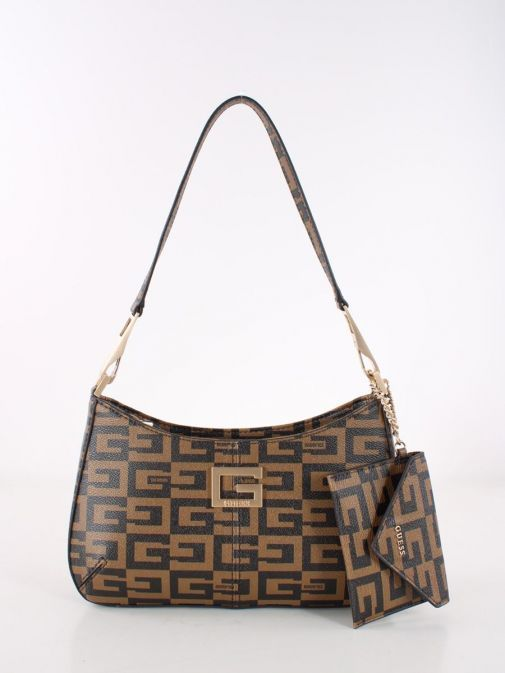 Front image of Guess 40th Anniversary Shoulder Bag in Brown