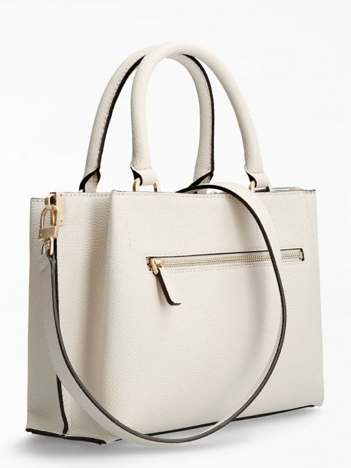 back shot of the Guess Albury Handbag in the Beige colour featuring strap,zip pocket, and decorative studs