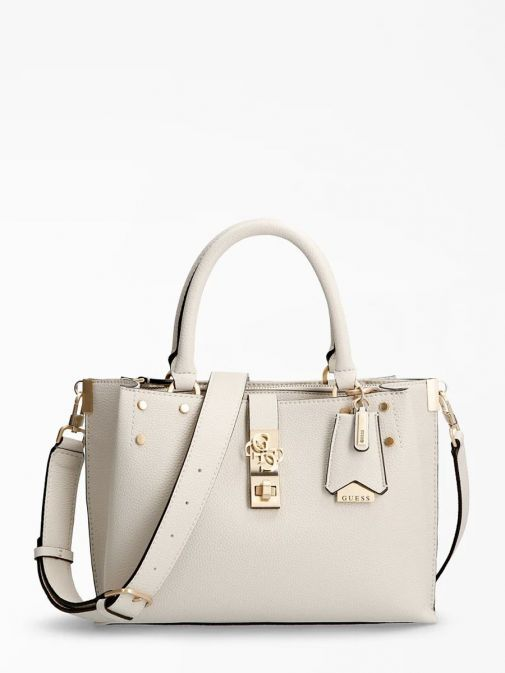 front shot of the Guess Albury Handbag in the Beige colour featuring strap, guess logo, and decorative studs