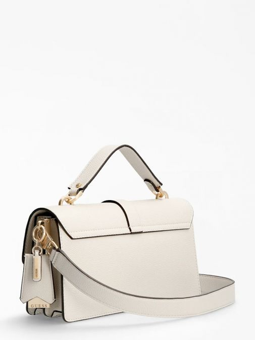 back shot of the Guess Albury Handbag Charm in the Beige featuring a small handle, long strap, guess logo