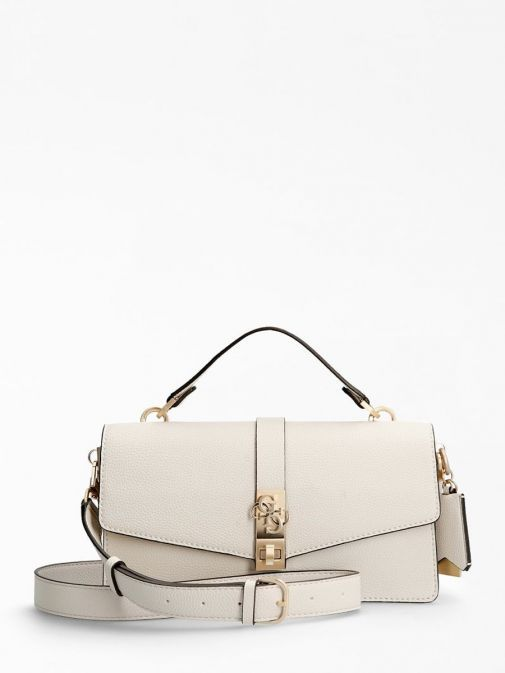 Front shot of the Guess Albury Handbag Charm in the Beige featuring a small handle, long strap, guess logo