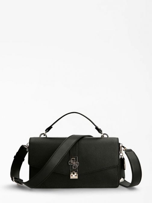 Front image of Guess Albury Handbag with Charm in Black