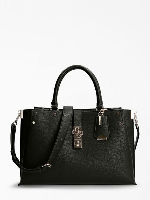 Front image of Guess Albury Maxi Handbag with Charm in Black