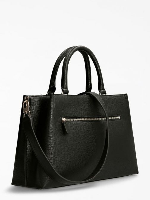 Back image of Guess Albury Maxi Handbag with Charm in Black