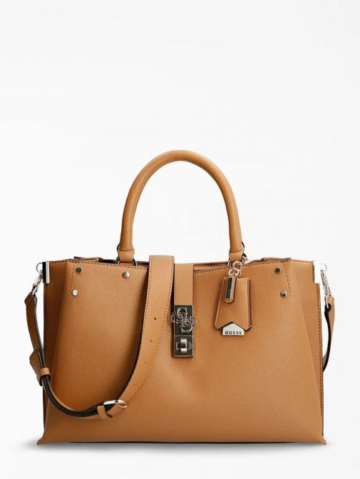 Front image of Guess Albury Maxi Handbag with Charm in Caramel