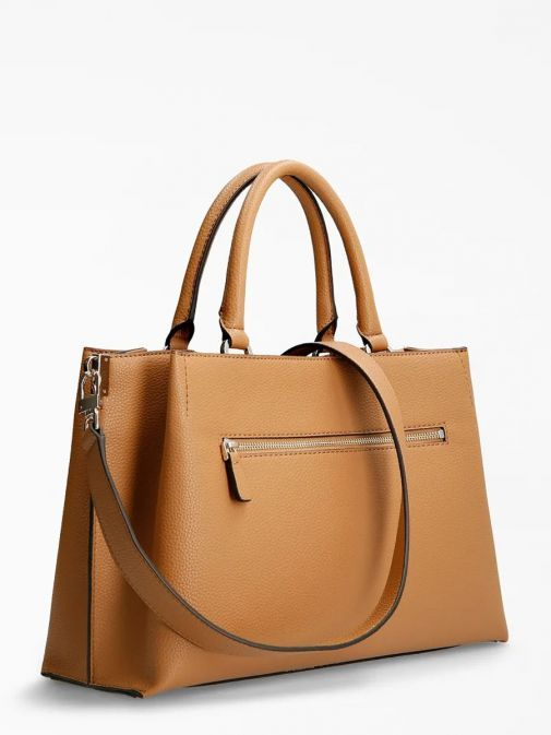 Back image of Guess Albury Maxi Handbag with Charm in Caramel