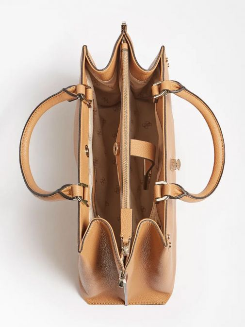 Inside image of Guess Albury Maxi Handbag with Charm in Caramel