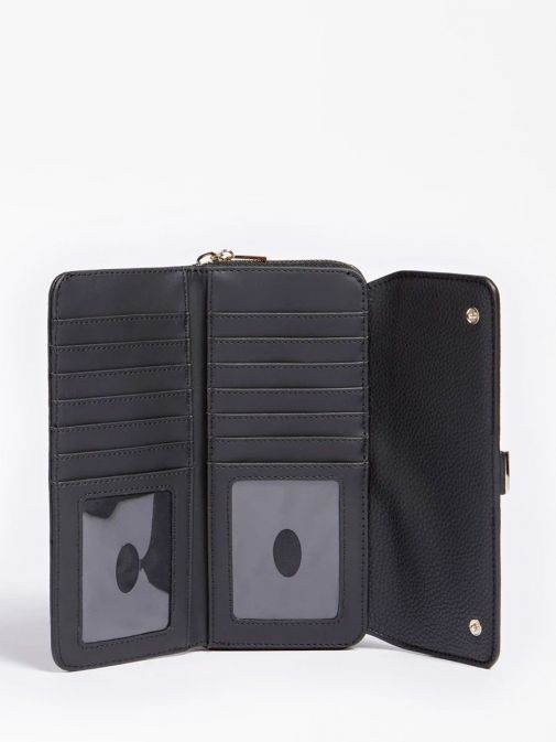 side shot of the Guess Albury Maxi Wallet in the black colour featuring flap, zip fastening and gold detailing