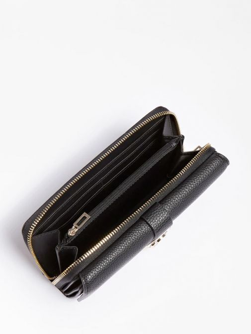 top shot of the Guess Albury Maxi Wallet in the black colour featuring flap, zip fastening and gold detailing