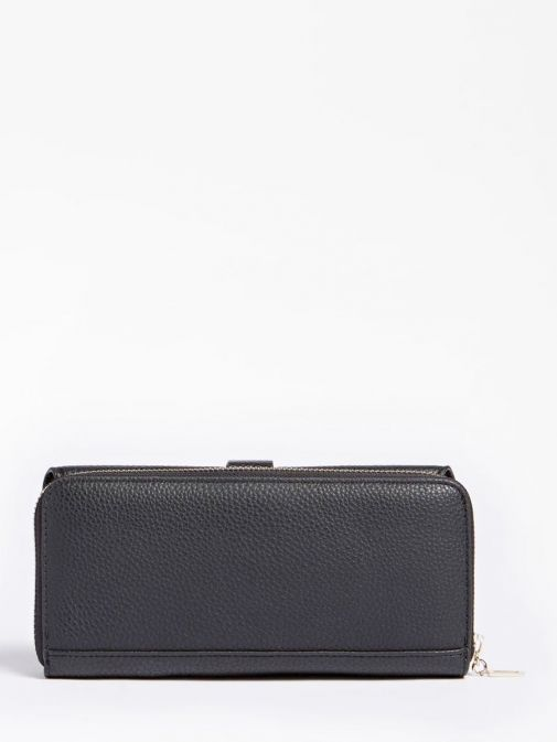 back shot of the Guess Albury Maxi Wallet in the black colour featuring zip fastening