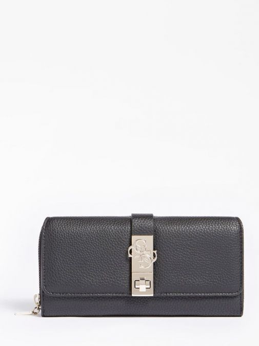 front shot of the Guess Albury Maxi Wallet in the black colour featuring flap, zip fastening and gold detailing