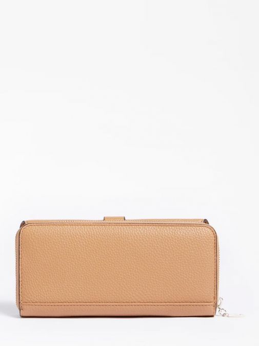 back shot of the Guess Albury Maxi Wallet in the Brown colour featuring zip fastening