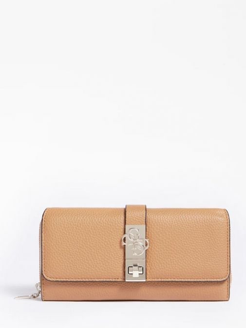 front shot of the Guess Albury Maxi Wallet in the Brown colour featuring flap, zip fastening and gold detailing