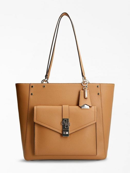 Guess Albury Shopper with Charm in Caramel