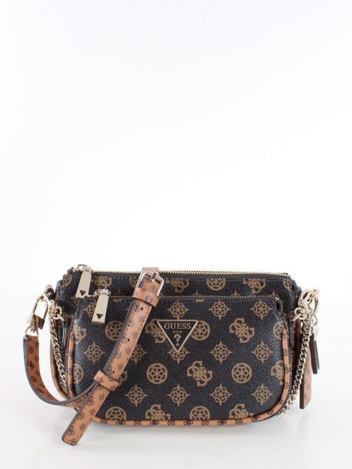Front image of Guess Arie 4G Logo and Peony Crossbody Bag in Mocha