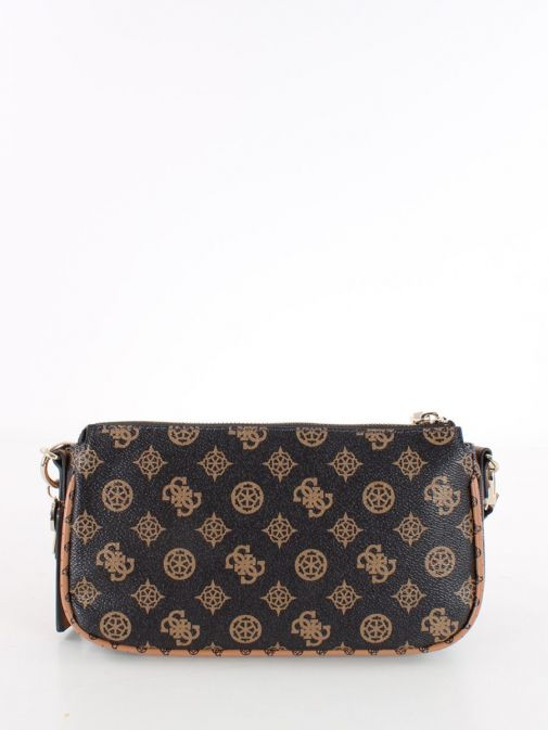 Back image of Guess Arie 4G Logo and Peony Crossbody Bag in Mocha
