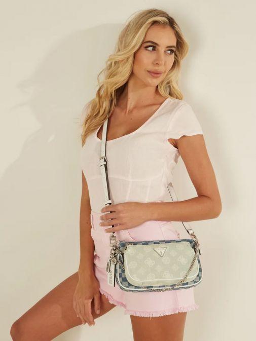 Model wearing Guess Arie Denim 4G Logo Crossbody Bag