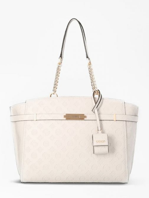 front shot of the Guess Bea Embossed Logo Shopper in the Stone featuring strap printed 4g logo and small pochette