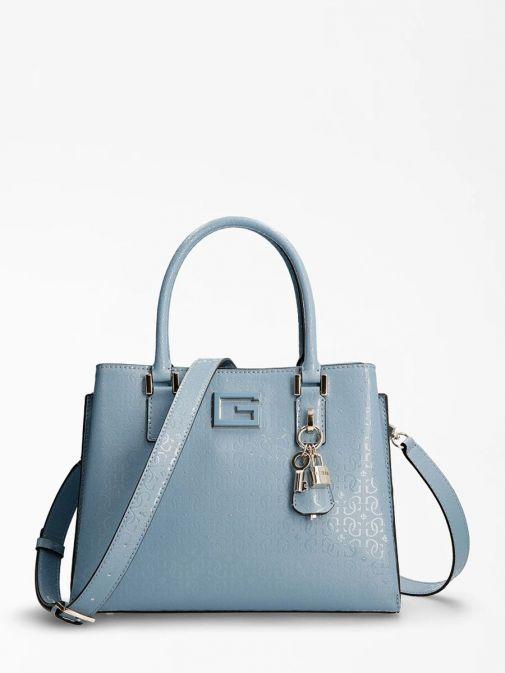 Front shot of Guess Blane 4G Logo Patent Handbag in Blue