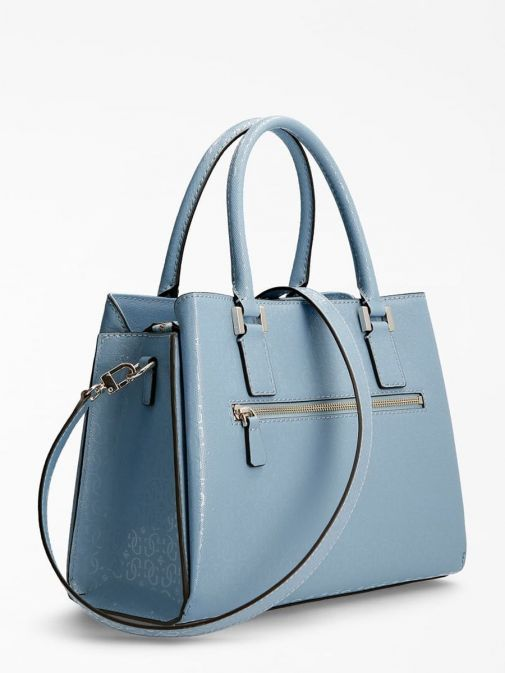 Back shot of Guess Blane 4G Logo Patent Handbag in Blue