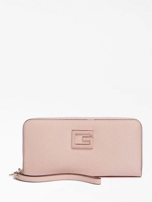 Front image of Guess Blane Logo Patent Maxi Wallet in Pink