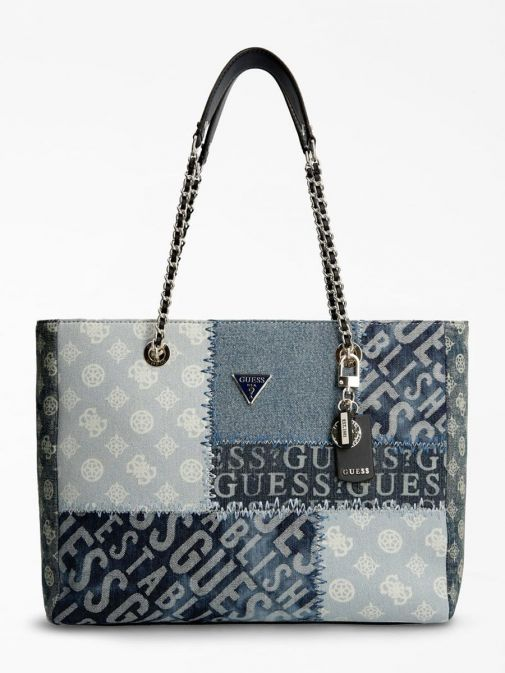 Front image of Guess Cessily Denim Shopper in Blue Multi