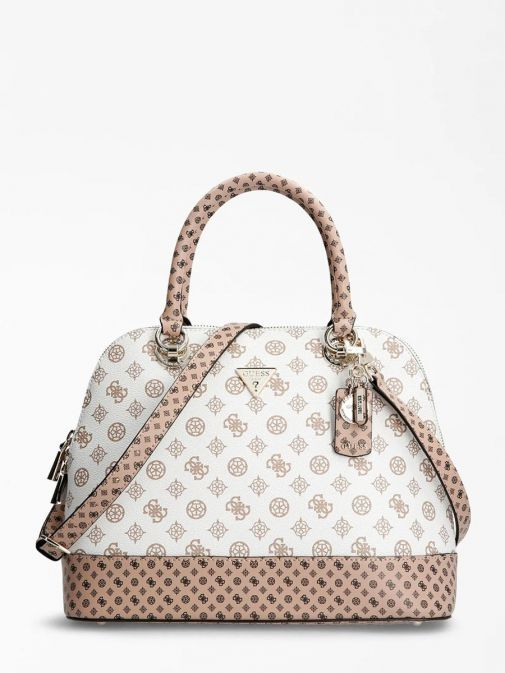 Front image of Guess Cessily Logo Handbag in White Multi