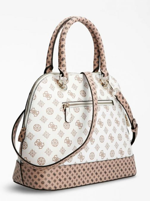 Side image of Guess Cessily Logo Handbag in White Multi