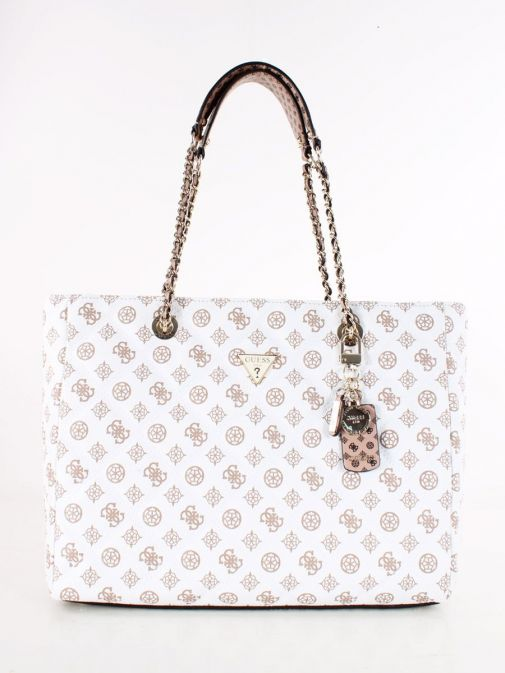 Front image of Guess Cessily Logo Quilted Shopper in White Multi