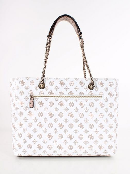 Back image of Guess Cessily Logo Quilted Shopper in White Multi