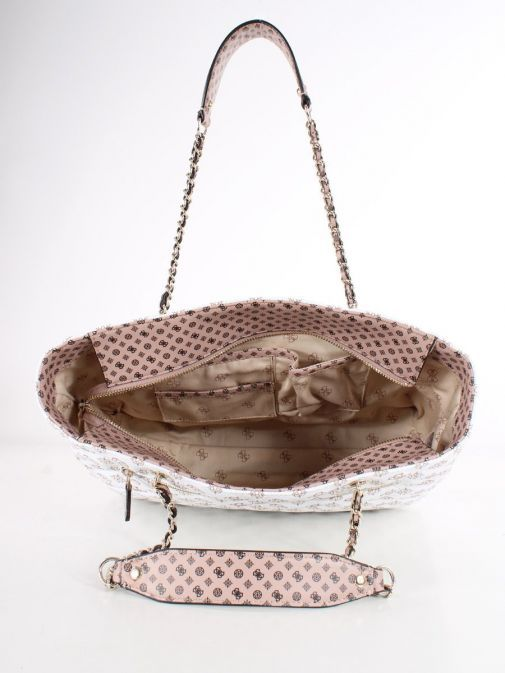 Inside image of Guess Cessily Logo Quilted Shopper in White Multi