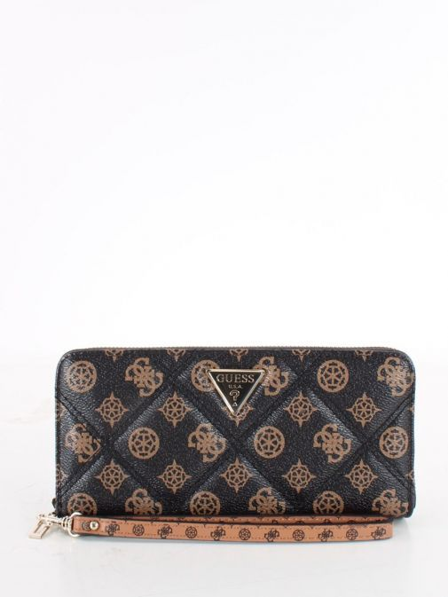 Front image of Guess Cessily Quilted Wallet in Brown