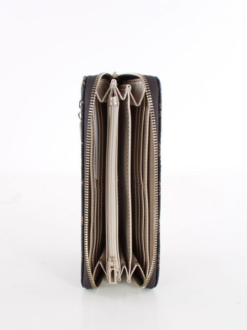 Inside image of Guess Cessily Quilted Wallet in Brown