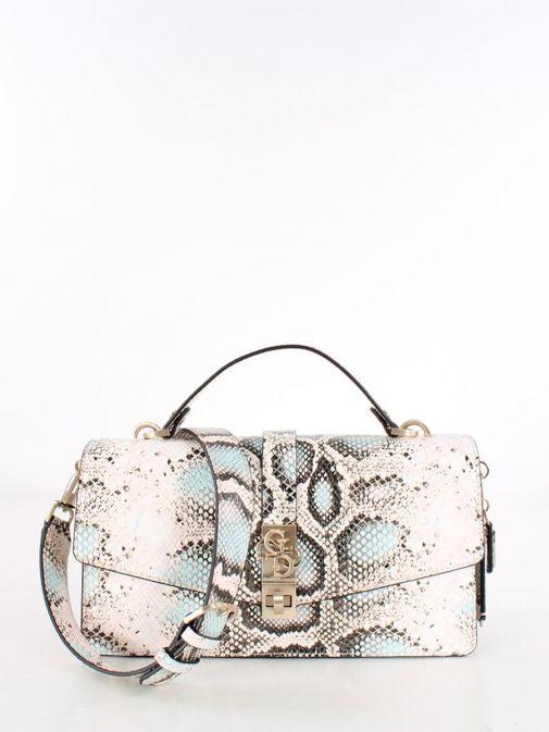 Front image of Guess Albury Handbag Charm in Printed Coral Python