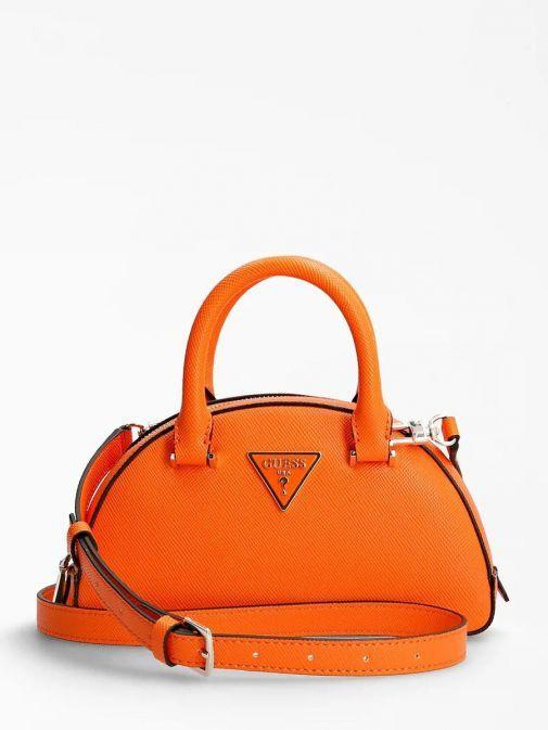 Front image of Guess Cordelia Saffiano Mini Handbag in Orange
