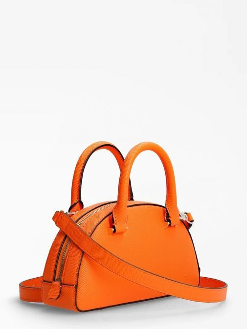 Back image of Guess Cordelia Saffiano Mini Handbag in Orange