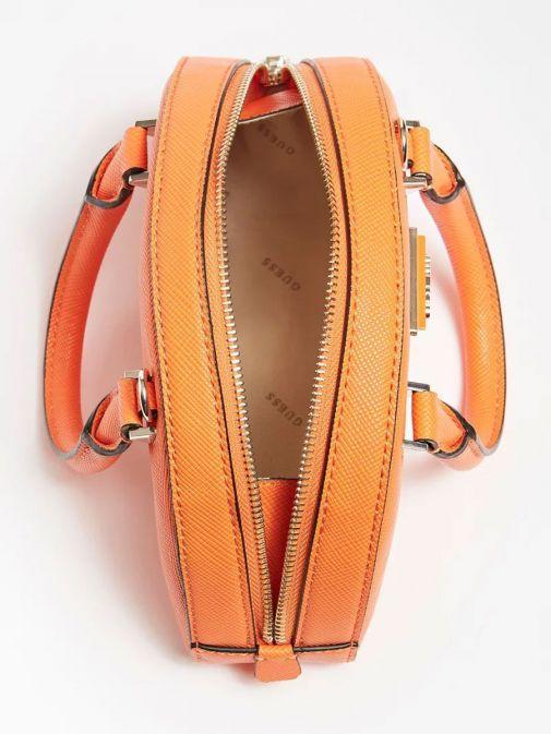 Aerial image of Guess Cordelia Saffiano Mini Handbag in Orange