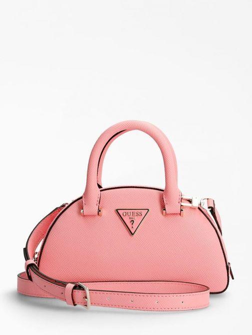 Front image of Guess Cordelia Saffiano Mini Handbag in Pink