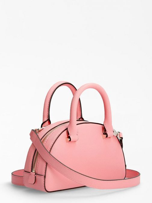 Back image of Guess Cordelia Saffiano Mini Handbag in Pink