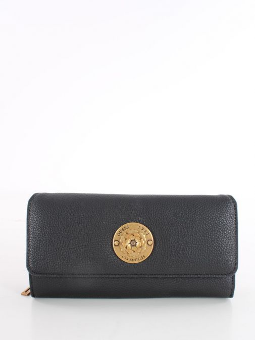 Front image of Guess Dayane Maxi Wallet in Black