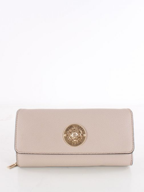 Front image of Guess Dayane Maxi Wallet in Taupe