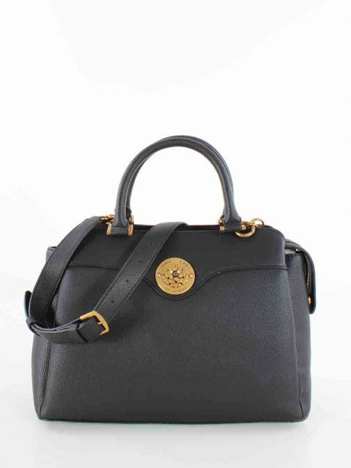 Front image of Guess Dayane Triple Compartment Handbag in Black