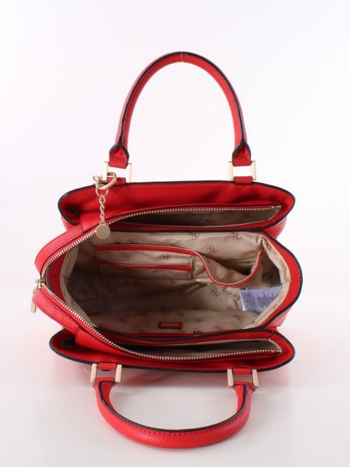 Image of inside of Guess Dayane Triple Compartment Handbag in Red