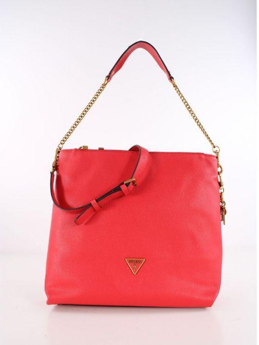 Front Shot of Guess Destiny Hobo Strap Shoulder Bag Red