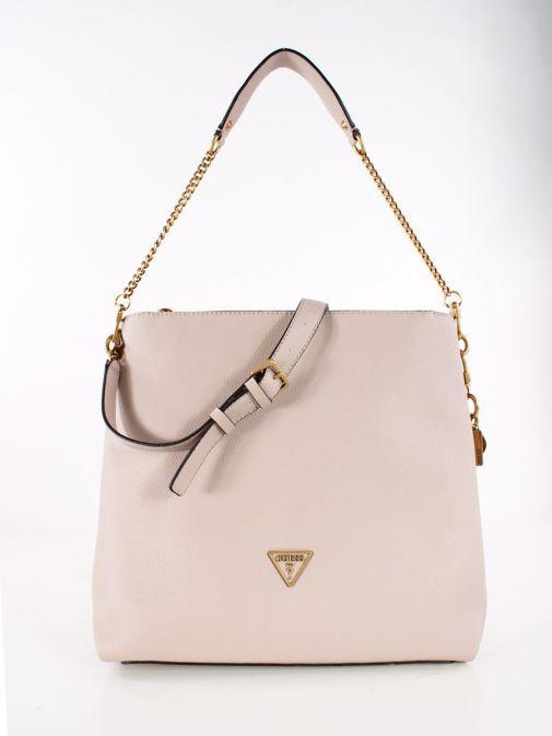 Front image of Guess Destiny Hobo Strap Shoulder Bag in Taupe